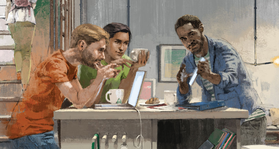 Illustration of people having a meeting at their desks